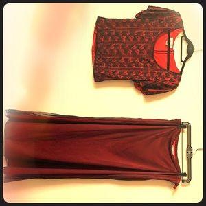 Elegant long skirt and beaded blouse